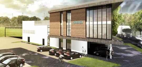 Projekt hali magazynowej z kontenerowym zapleczem socjalno – biurowym firmy SPAWEX w Płocku ul. Zglenickiego