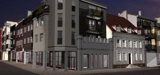 """Wielobranżowy projekt budynku mieszkalno – usługowego """"Złoty Róg"""". Obiekt zlokalizowany między ulicami Bielską, Sienkiewicza i Kwiatka."""