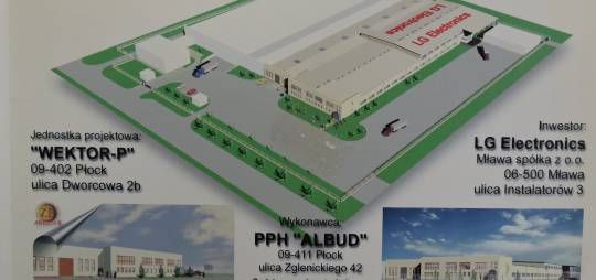 Wielobranżowy projekt hali produkcyjnej dwunawowej wraz z zapleczem socjalnym i biurowym dla firmy LG Electronics Mława sp. z o.o. 126 x (30 + 20) m. (Korea)