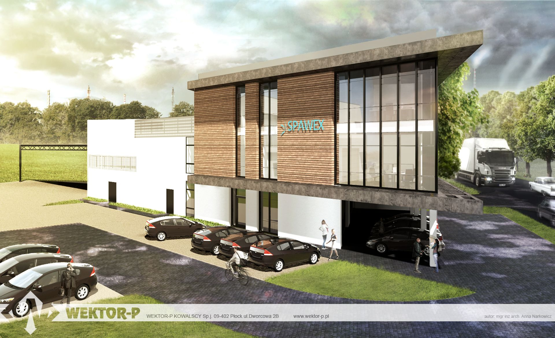 DESIGN OF WAREHOUSE HALL WITH CONTAINER SOCIAL AND OFFICE BACKUP BY SPAWEX IN PŁOCK AT ZGLENICKIEGO STREET.