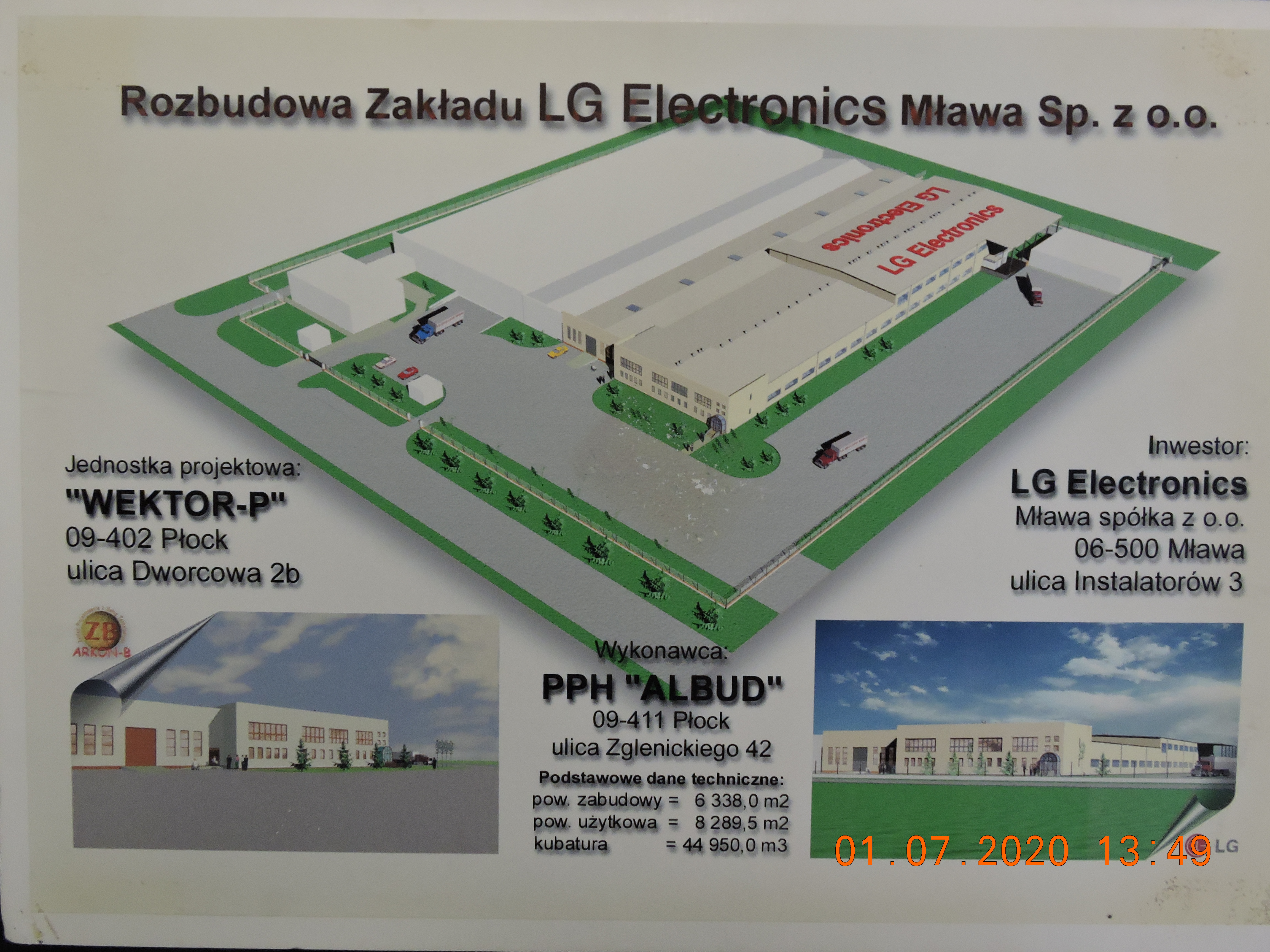 MULTI-BRANCH DESIGN OF A DOUBLE-AREA PRODUCTION HALL WITH A SOCIAL AND OFFICE BACKGROUND FOR LG ELECTRONICS MŁAWA SP. Z O.O. 126 X (30 + 20) M. (KOREA)