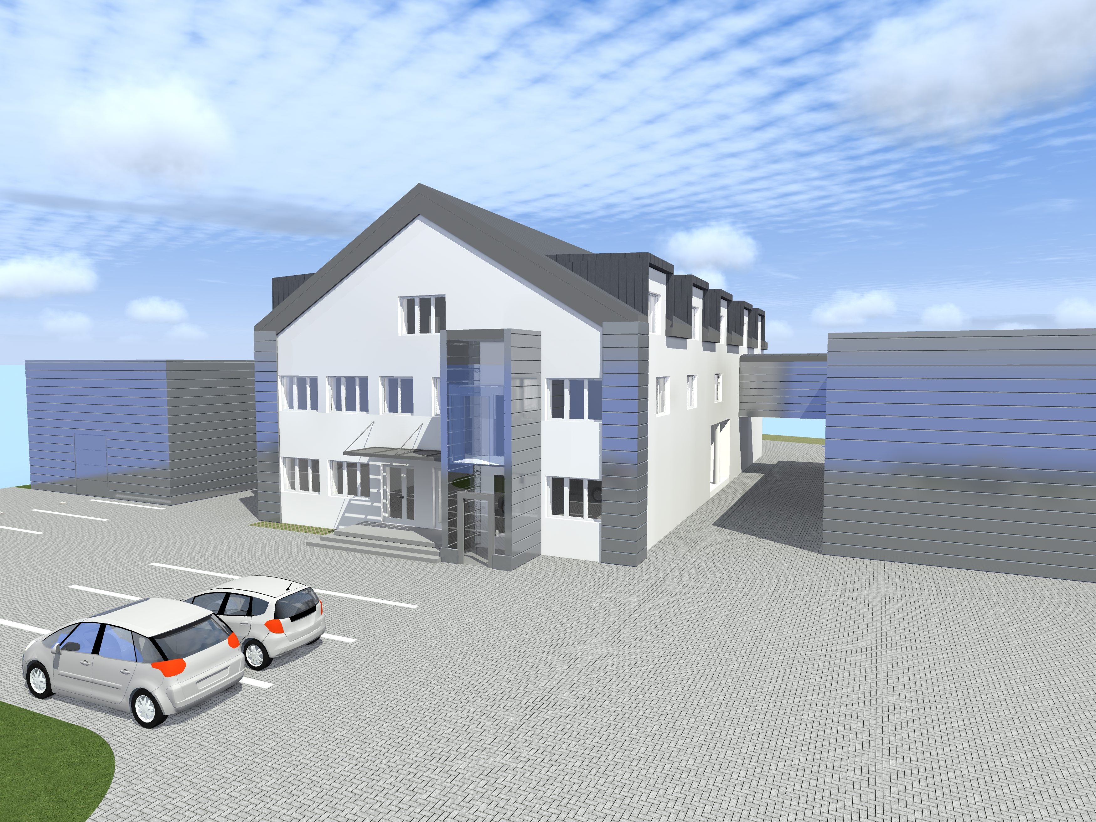 CONSTRUCTION AND EXECUTIVE DESIGN OF TWO WAREHOUSES WITH A CONNECTOR, LOCATED IN PŁOCK AT CHOPIN 5 STREET.